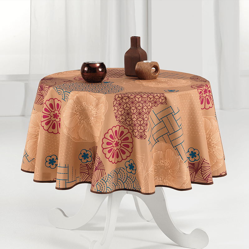 Tablecloth warm and intense ocher 160cm French tablecloths