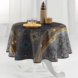 Tischdecke grau, Bogen und Sterne 160cm rund französische Tischdecken