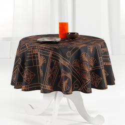 Tischdecke schwarz, schick mit Schleife 160cm rund französische Tischdecken