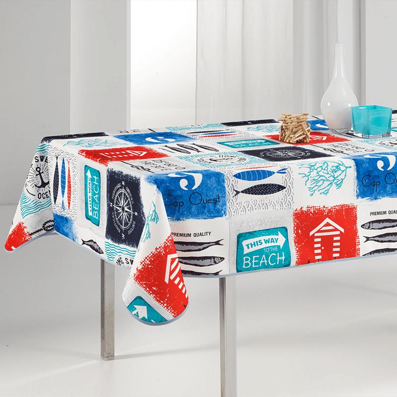 Tischdecke mehrfarbiger Strand, Marine 240 x 148 französische Tischdecken