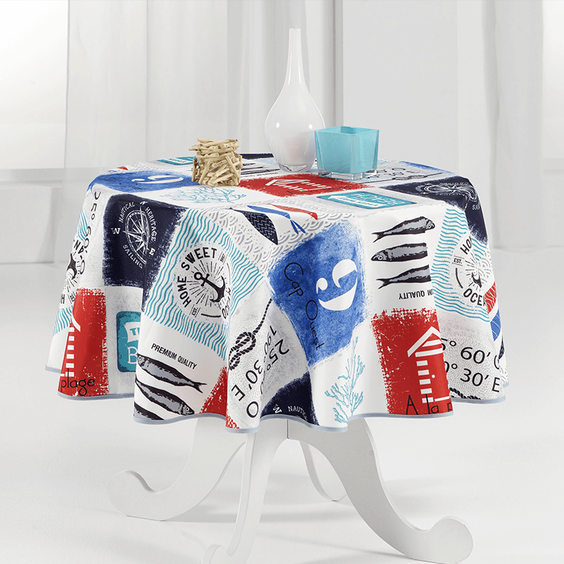 Tablecloth multicolored beach, navy 160 round French tablecloths