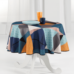 Tablecloth multicolored triangle, navy round French tablecloths