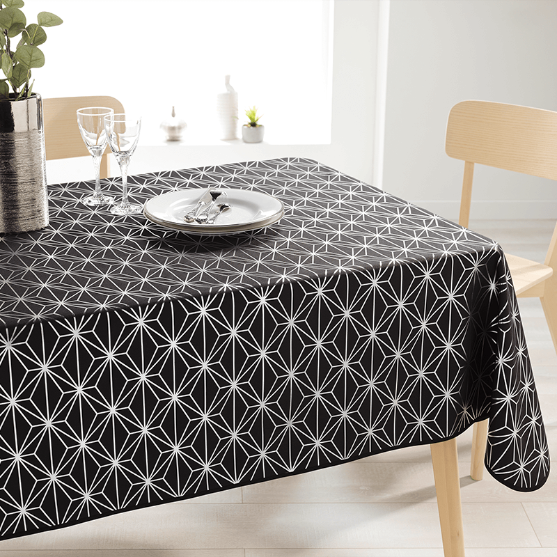 Tablecloth black with silver stars rectangle 240 French Tablecoverings