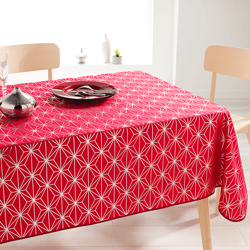 Tablecloth red with silver stars rectangle 240 French Tablecoverings