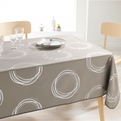 Tafelkleed taupe met zilverkleurige cirkels 240 X 148 Franse Tafelkleden