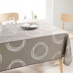 Tafelkleed taupe met zilverkleurige cirkels 200 X 148 Franse Tafelkleden