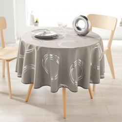 Tafelkleed taupe met zilverkleurige cirkels  rond Franse Tafelkleden