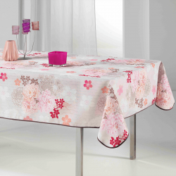 Tablecloth beige with pink flowers rectangle 240 French Tablecoverings