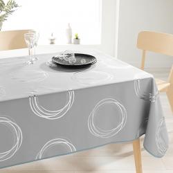 Tafelkleed grijs met zilverkleurige cirkels 240 X 148 Franse Tafelkleden