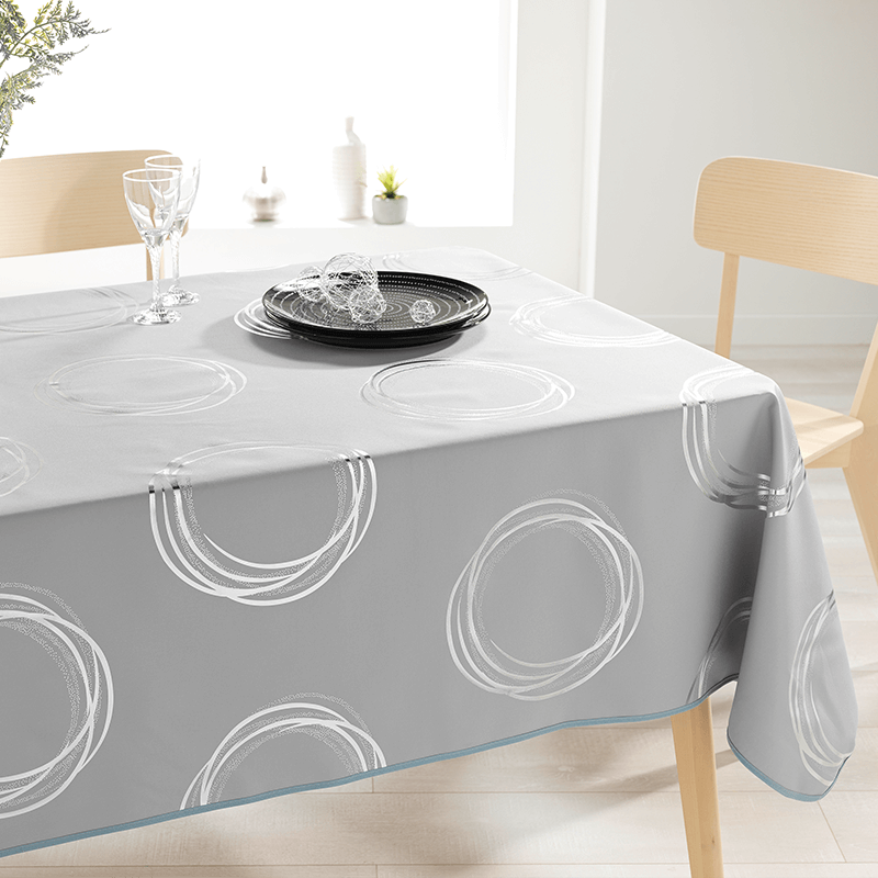Tablecloth gray with silver colored circles 240 X 148 French tablecloths