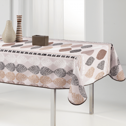 Tablecloth beige with leaves 240 X 148 French tablecloths