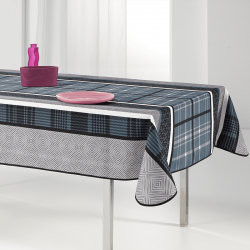 Tablecloth blue with modern check 240 X 148 French tablecloths