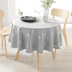 Tablecloth gray with silver colored circles 160cm French tablecloths
