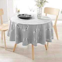 Tafelkleed grijs met zilverkleurige cirkels 160cm Franse Tafelkleden