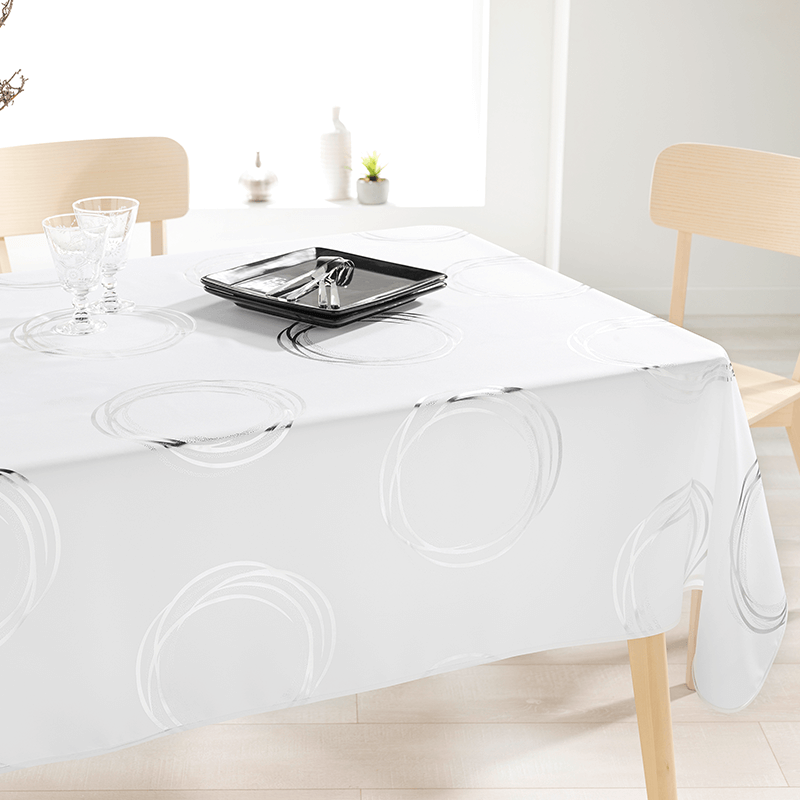 Ecru tablecloth with silver-colored circles 240 X 148 French Tablecloths
