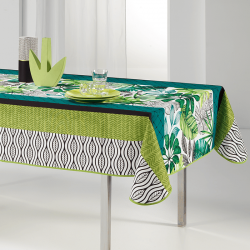 Rectangular tablecloth 240x148 cm fresh green leaves French Tablecloths