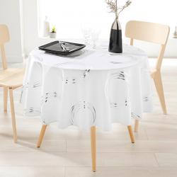 Tischdecke Ecru mit silberfarbenen Kreisen rund französische Tischdecken