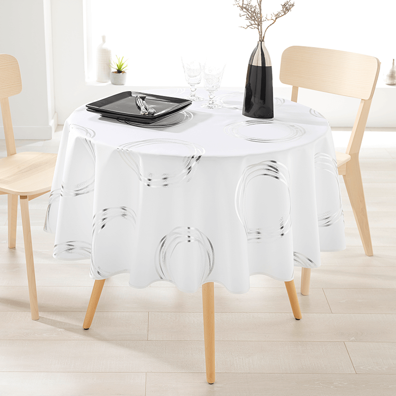 Ecru tablecloth with silver-colored circles round French Tablecloths