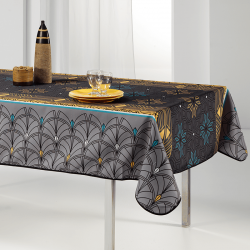Tablecloth gray, arch and stars 240 X 148 French tablecloths