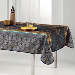 Tischdecke grau, Bogen und Sterne 240 x 148 französische Tischdecken