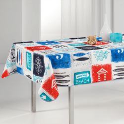Tablecloth multicolored beach, navy 240 X 148 French tablecloths