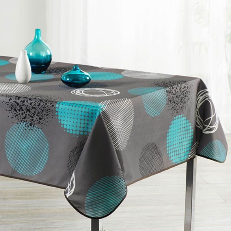 Tablecloth taupe with turquoise circle 240 X 148 French Tablecloths