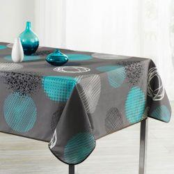 Tafelkleed taupe met turquoise cirkel 200 X 148 Franse Tafelkleden