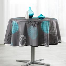 Tafelkleed taupe met turquoise cirkel 160cm Franse Tafelkleden