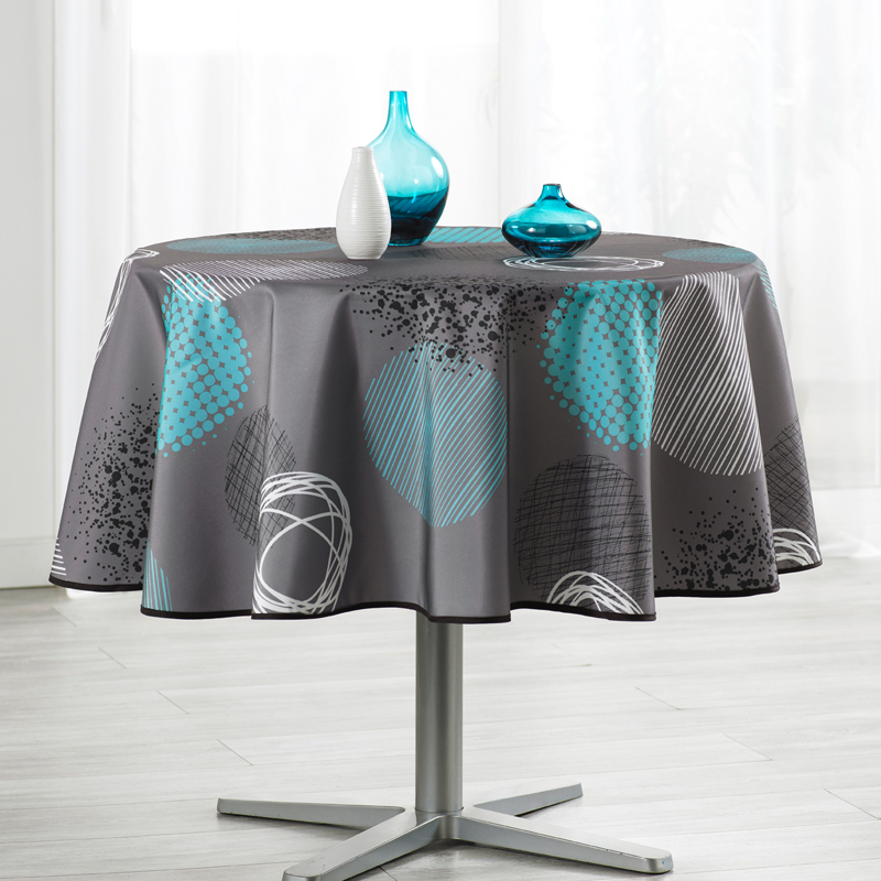 Tablecloth taupe with turquoise circle 160cm French Tablecloths