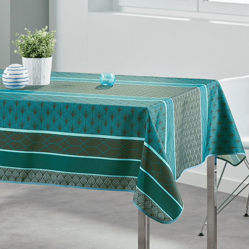 Tablecloth modern green 160 round French tablecloths
