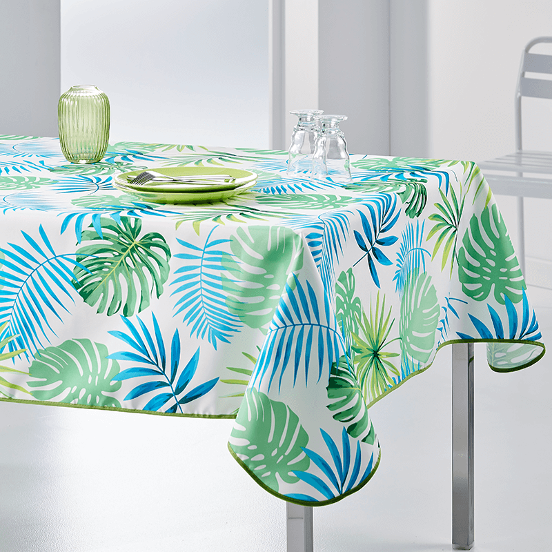 Tablecloth Monstera modern grun 300 X 148 French Tablecloths