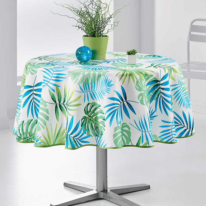 Tablecloth Monstera modern grun 160cm French Tablecloths