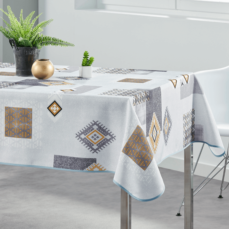 Tablecloth gray, ocher squares 160cm round French Tablecloths