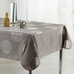 Tablecloth 160 cm Round taupe with silver circles