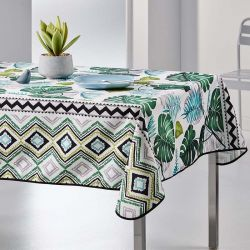Tablecloth Monstera leaves 300 X 148 French tablecloths