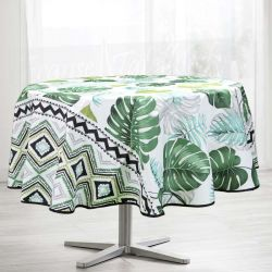 Tablecloth Monstera leaves round  French tablecloths