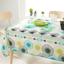 Rectangular tablecloth 240 cm white with leaves.