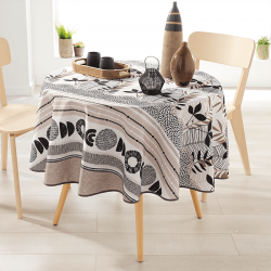 Round 160 tablecloth 100% polyester, moisture repellent. White with taupe and leaves