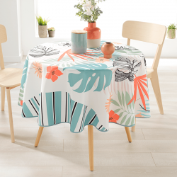 Round 160 tablecloth 100% polyester, moisture repellent. White with modern monstera leaves