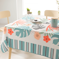 Rectangle 240 cm tablecloth 100% polyester, moisture repellent. White with modern monstera leaves