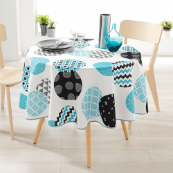 Around 160 tablecloth 100% polyester, moisture repellent. White with modern circles