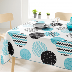 Rectangle 200 cm tablecloth 100% polyester, moisture repellent. White with modern circles