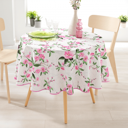Round 160 tablecloth 100% polyester, moisture repellent. White with pink flowers