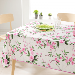 Rectangle 200 tablecloth 100% polyester, moisture repellent. White with pink flowers