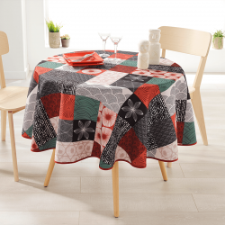 Round 160 tablecloth 100% polyester, moisture repellent. Red, black mosaic