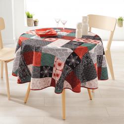 Rond 160 tafelkleed 100 % polyester, vocht afstotend. Rood, zwart mozaiek