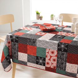 Rechthoek 200 tafelkleed 100 % polyester, vocht afstotend. Rood, zwart mozaiek