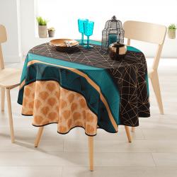 Rond 160 tafelkleed 100 % polyester, vocht afstotend. Zwart oranje, figuren