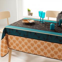 Rechthoek 240 tafelkleed 100% polyester, vochtafstotend. zwart, oranje, figuren