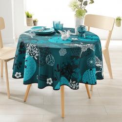 Rond 160 tafelkleed 100 % polyester, vocht afstotend. Blauw met kraanvogel